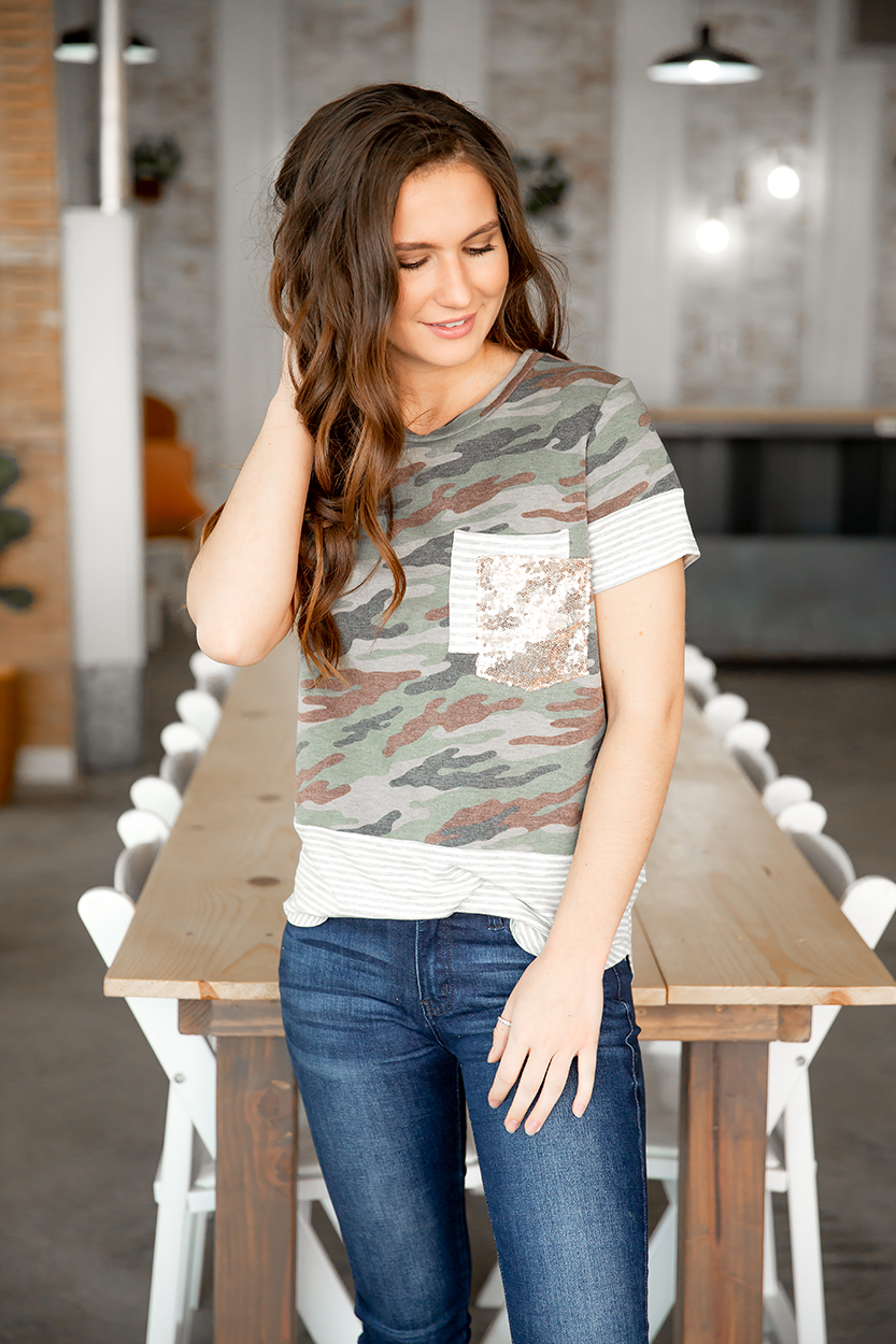 Always Believe Short Sleeve Sequin Pocket Camo Top
