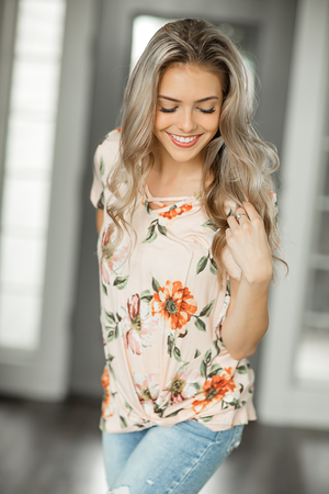 Look So Perfect Floral Top in Peach