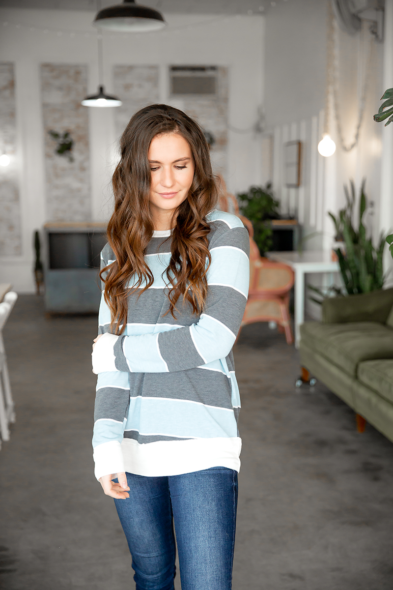 Keeper of my Heart Striped Top in Light Blue and Charcoal
