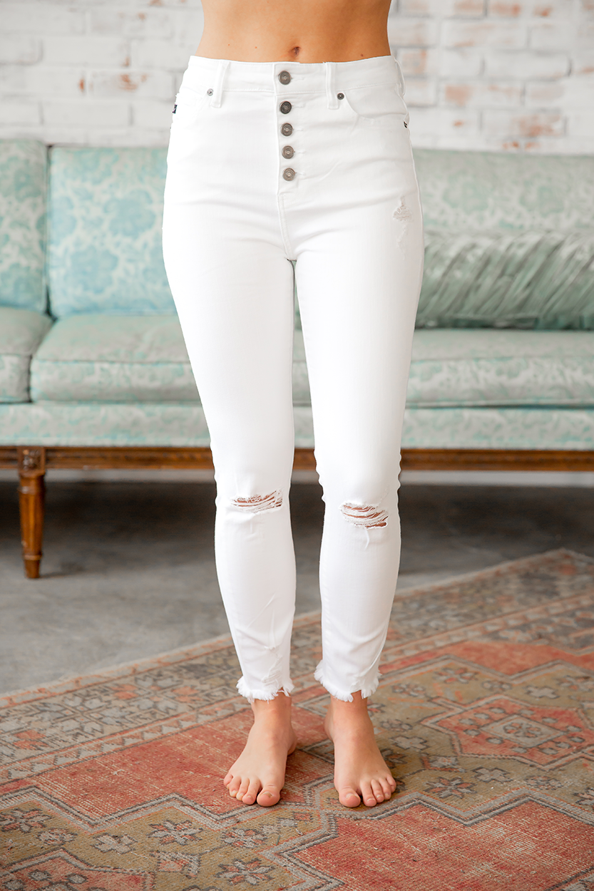 KanCan Worth It White Exposed Button Jeans
