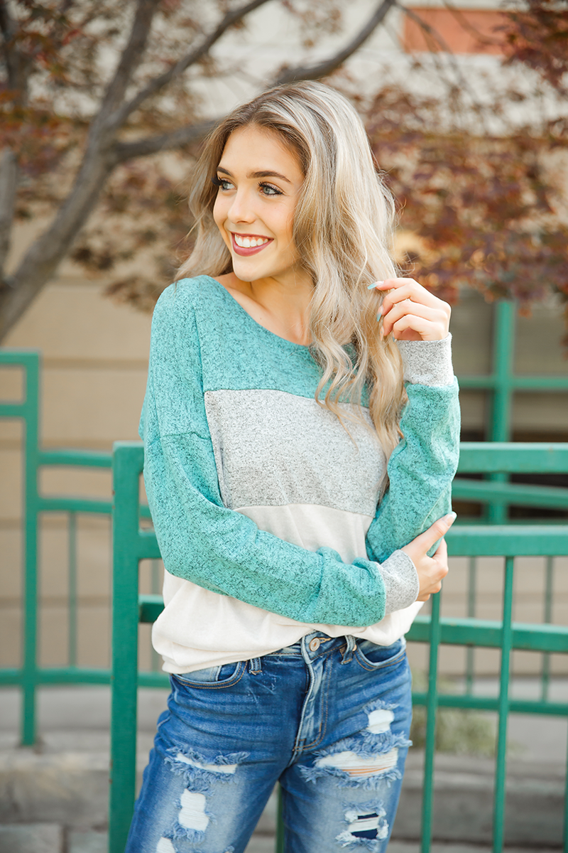 Tell Me Why Mint, Gray, and Oatmeal Colorblock Longsleeve Top