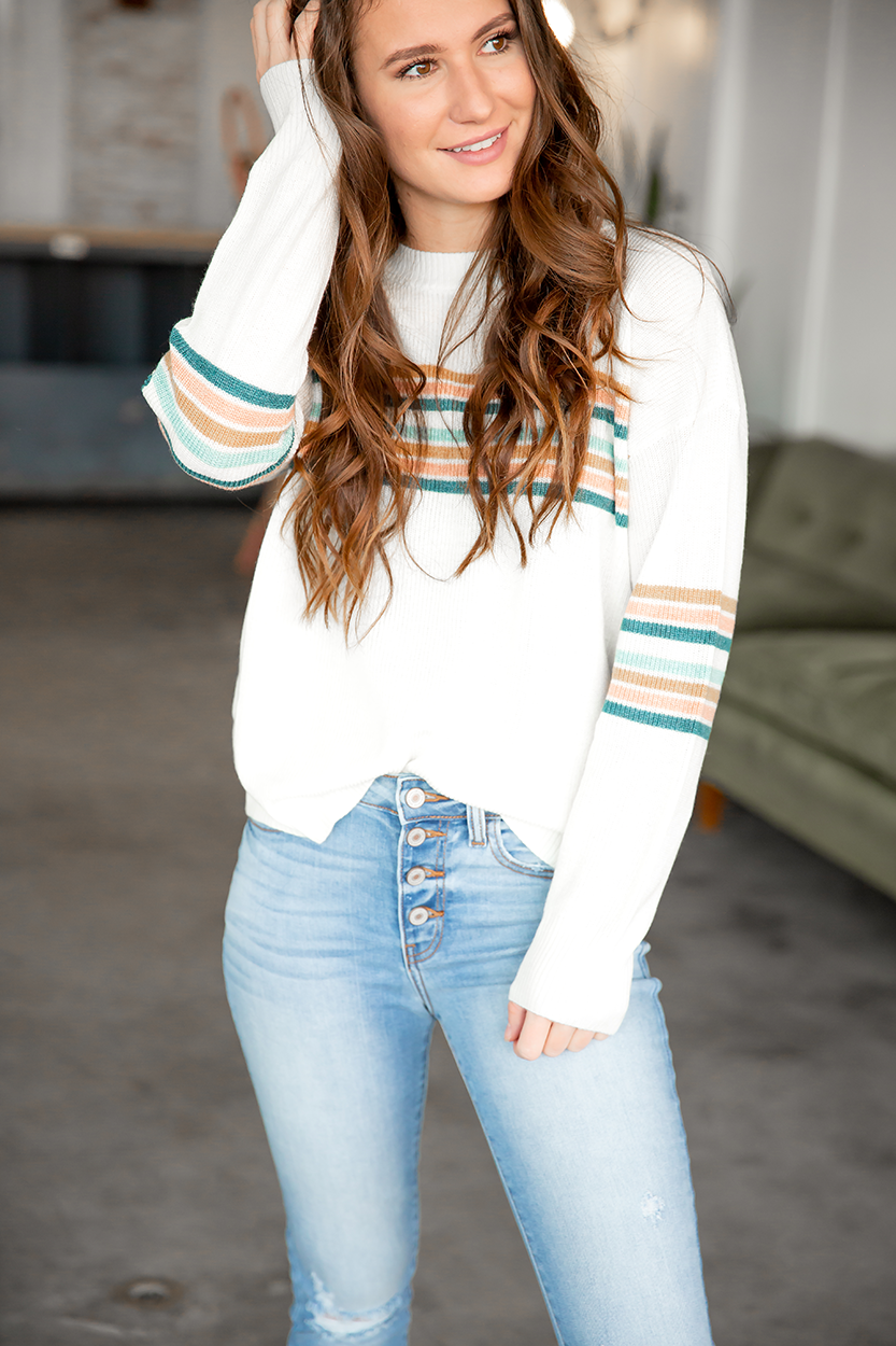 Up For Anything Multi Colored Striped Sweater in Cream