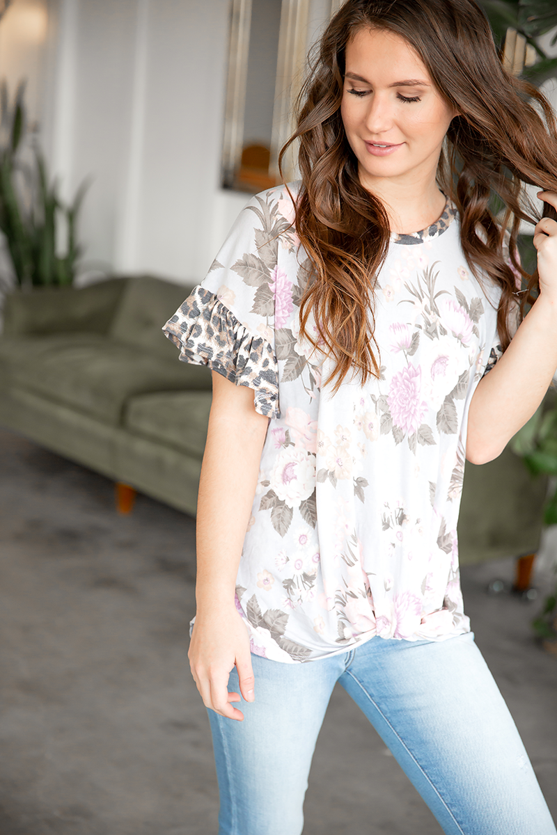 Midnight Crush Floral Top with Animal Print