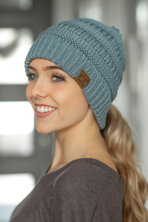CC Knit Beanie With Criss-Cross Back in Dusty Blue