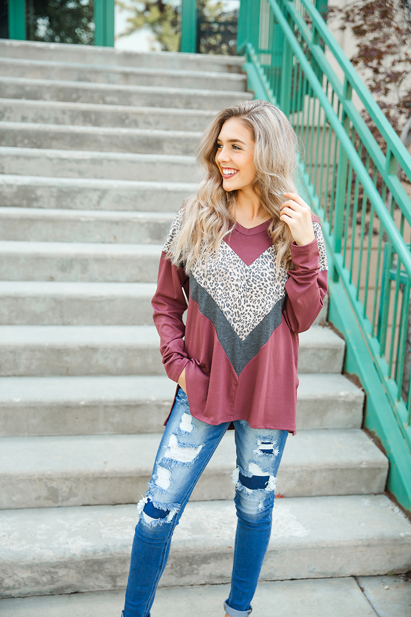 Can't Help Thinking Mauve, Charcoal & Animal Print Long Sleeve Top