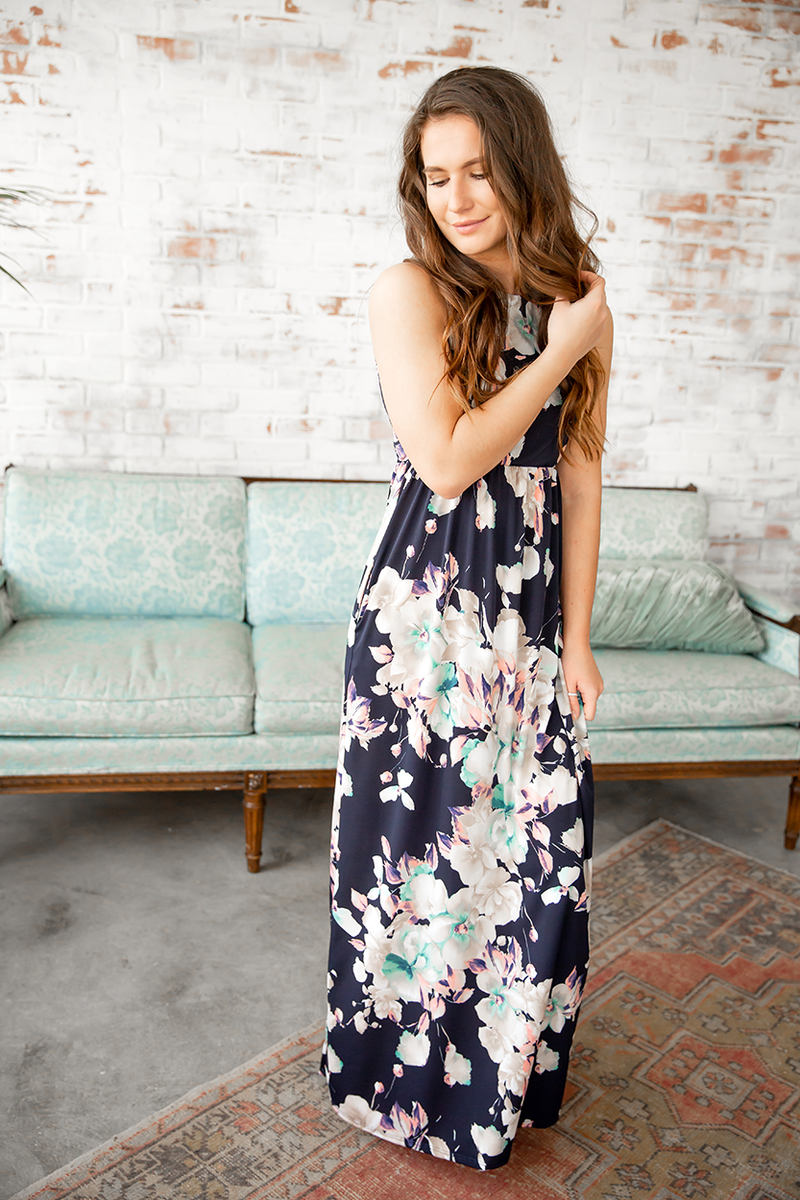 Fabulous Floral Maxi Dress in Navy