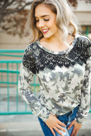 Lost in Thought Top in Camo with Lace