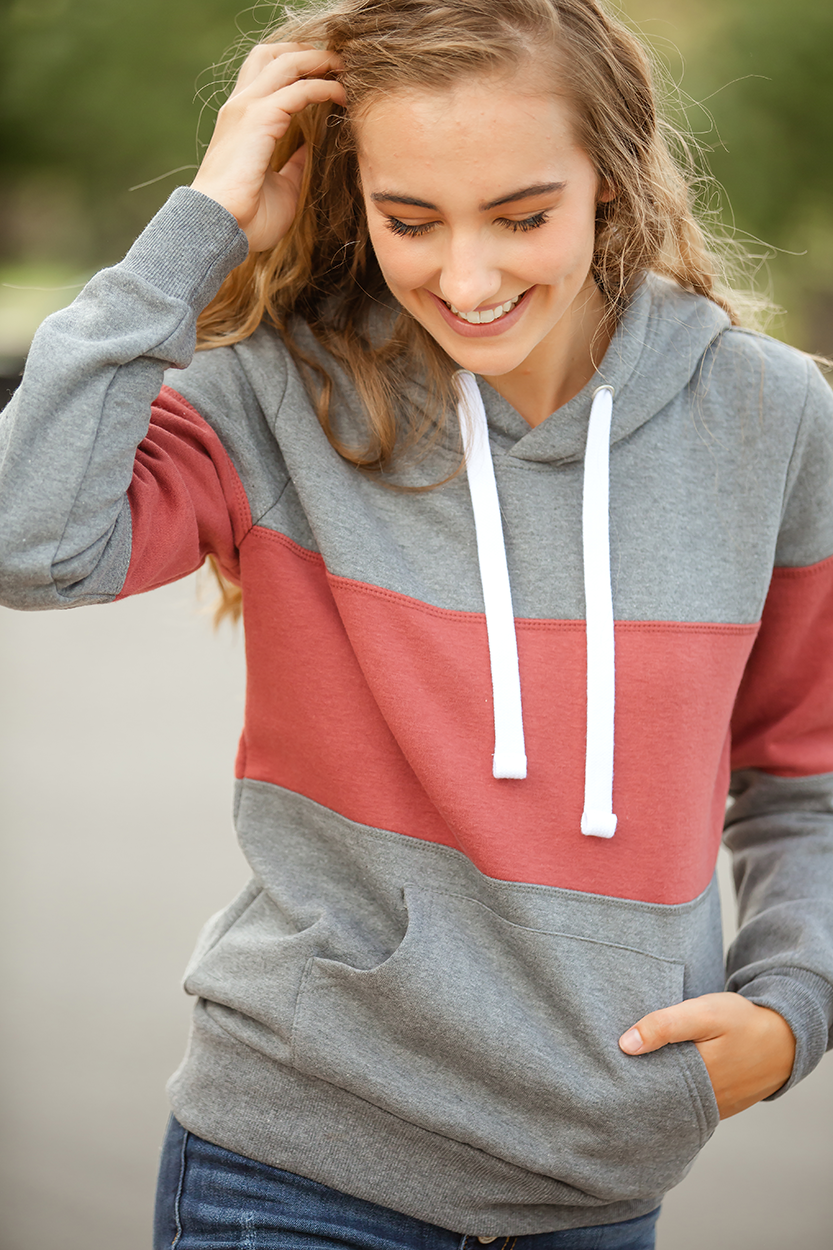 Dancing In the Dark Hoodie in Charcoal with Deep Mauve Stripe (SALE)