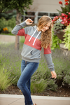 Dancing In the Dark Hoodie in Charcoal with Deep Mauve Stripe