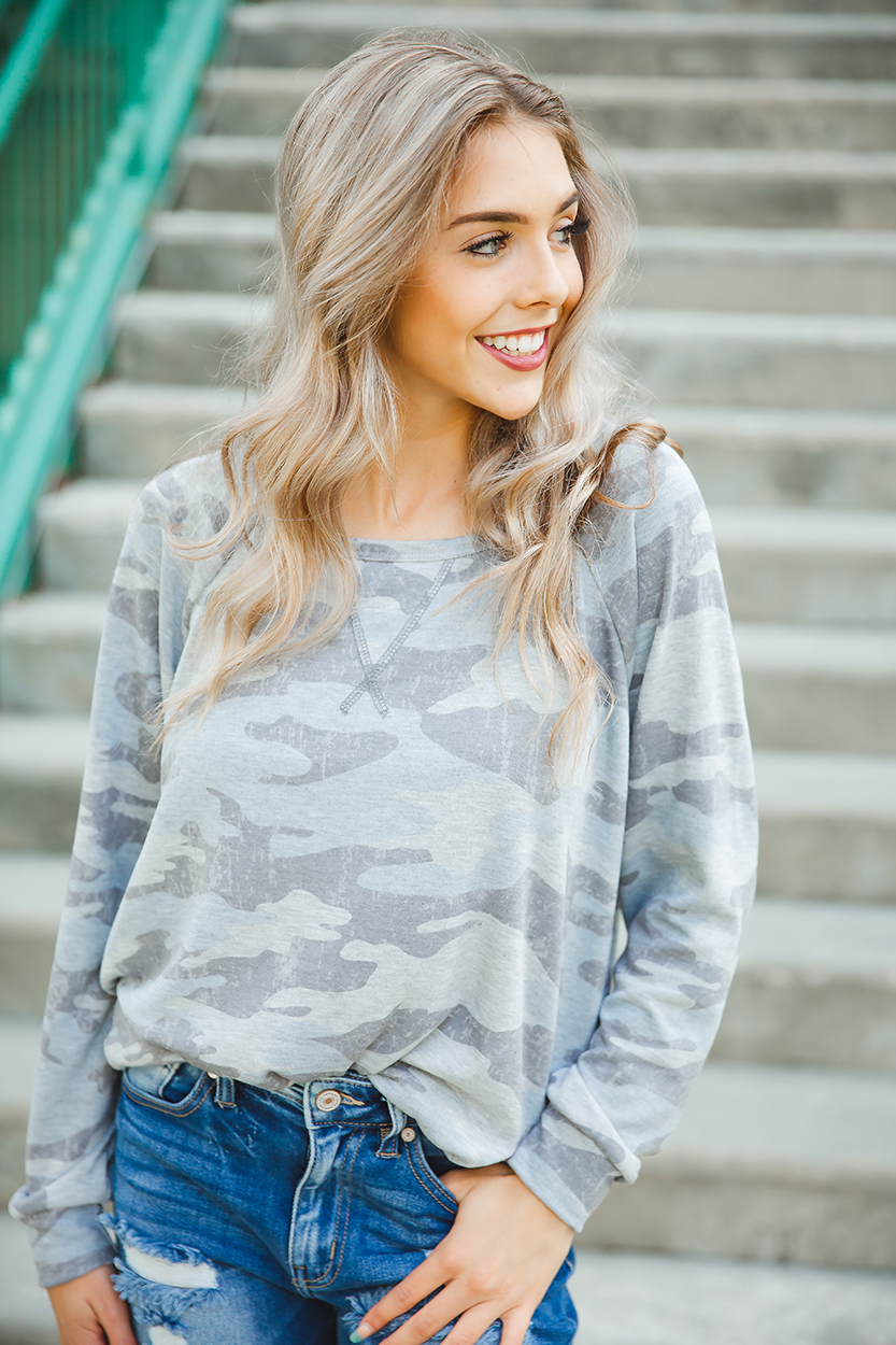 On Top Of the World Camo Long Sleeve Top