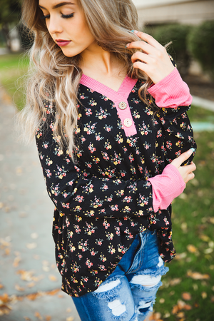 My Favorite Things Black Floral Long Sleeve Top