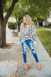 Just Fall Leopard Pullover Sweater in Ivory and Black