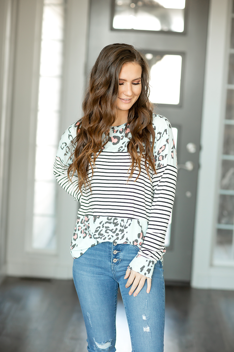 Something Fierce Striped Animal Print Top