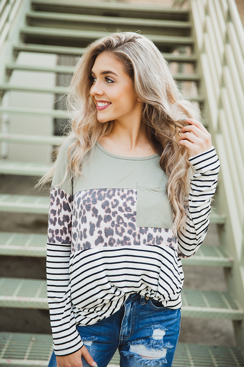 Betting On the Wild Side Animal Print Top in Sage