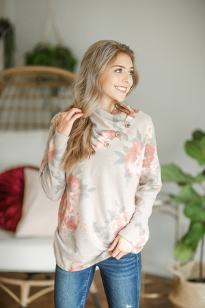 Dance and Sing Cowl Neck in Oatmeal Floral