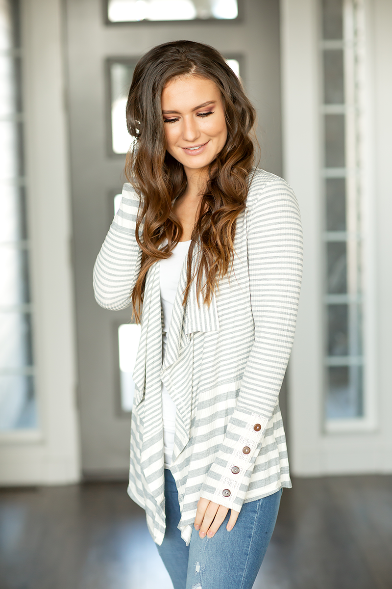 In The Moment Striped Cardigan in Gray