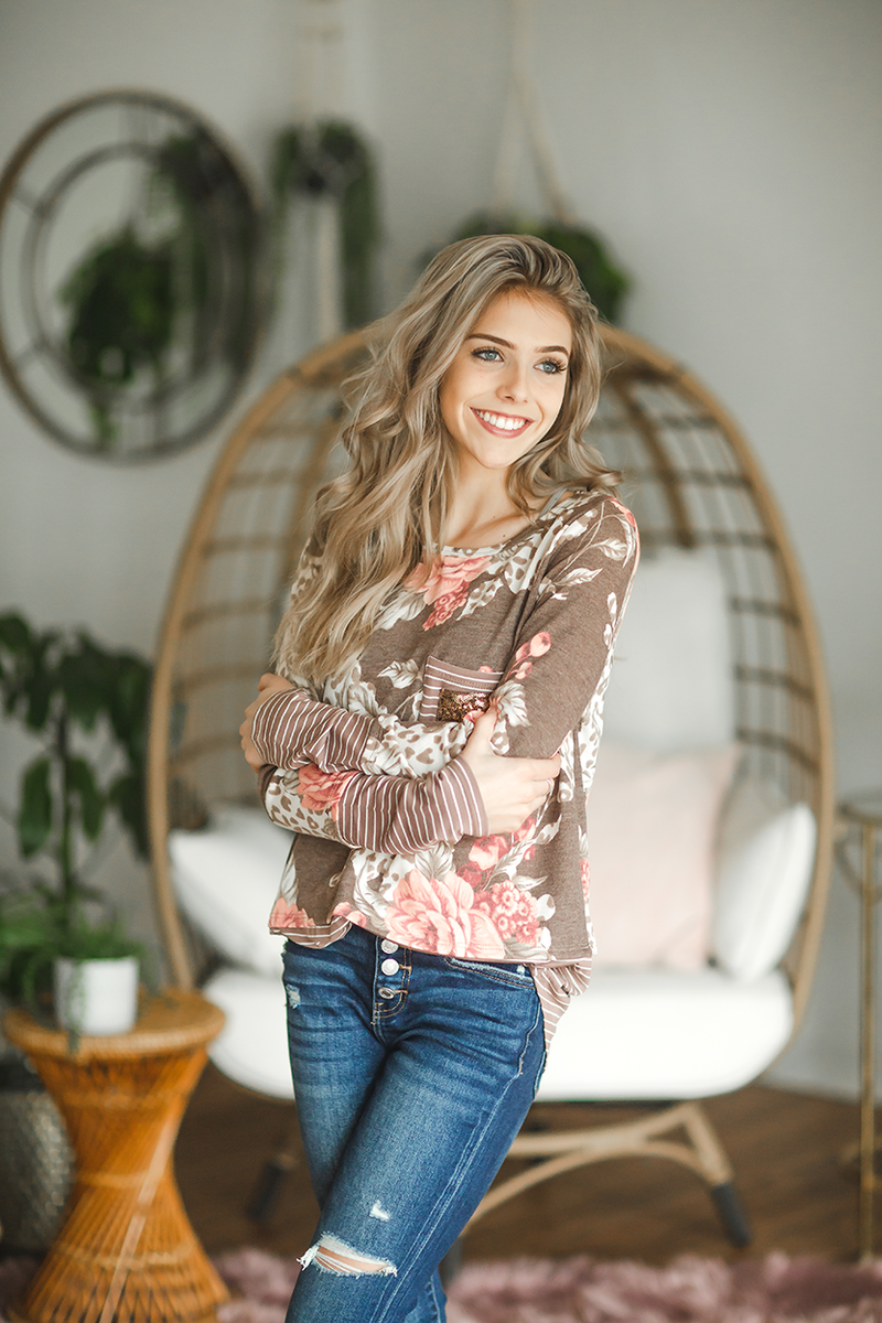Someone Will Love You Mocha Floral Striped Top