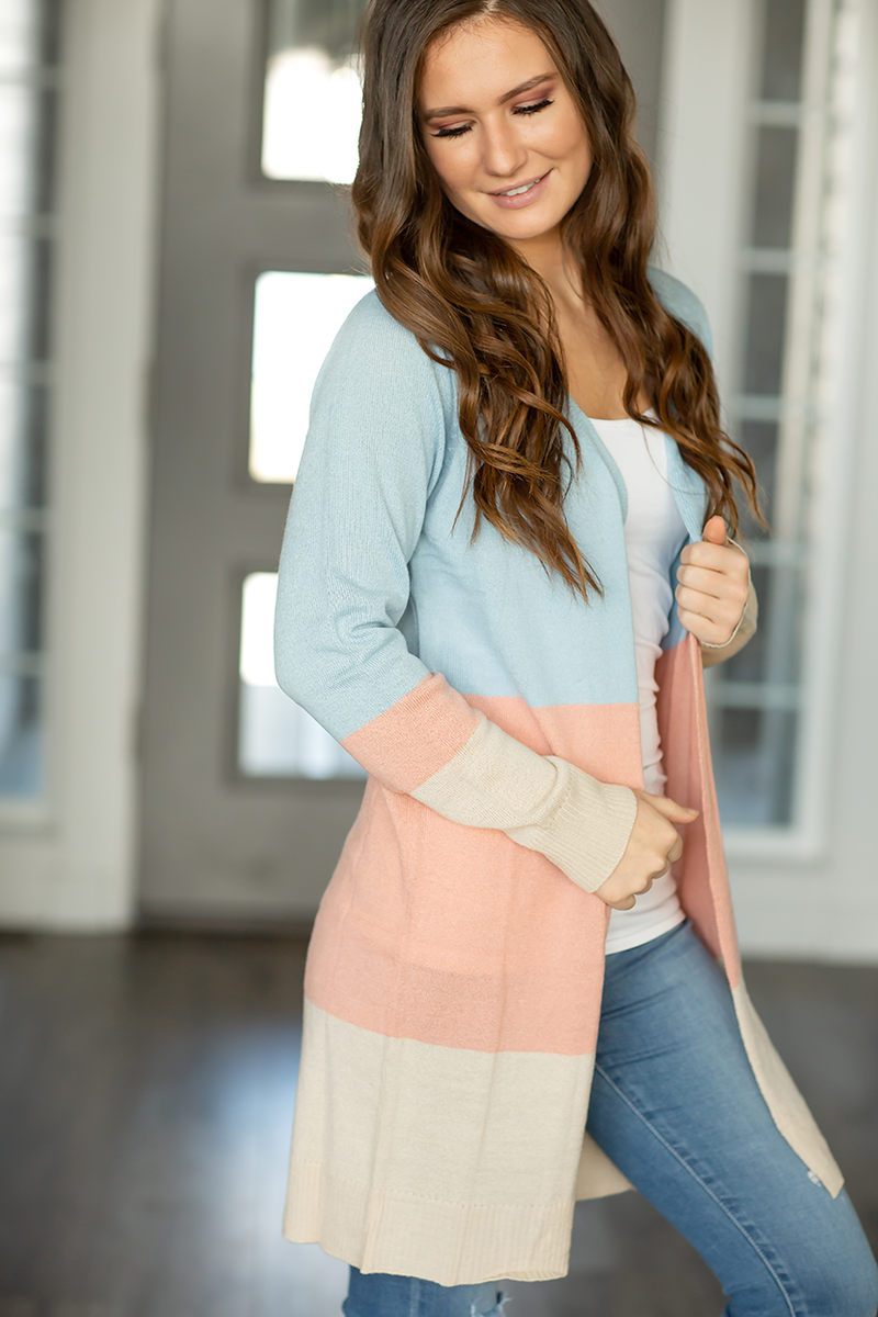 Stay By My Side Color Block Cardigan in Baby Blue, Peach and Taupe