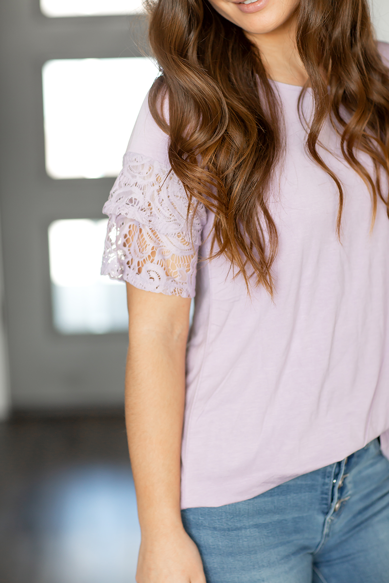 Lace and Sweetness Top in Lilac