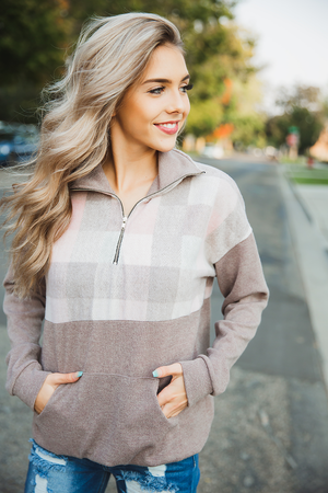 Carry On Quarter Zip in Taupe, Oatmeal and Pink
