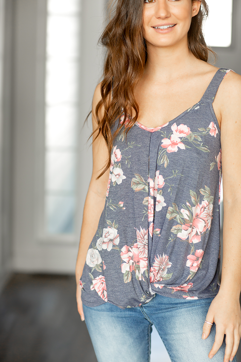 Good Taste Floral Tank in Navy