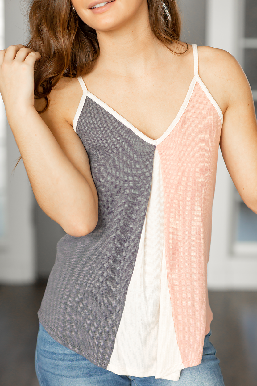 Good Days Ahead Tank in Gray and Pink