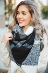 I Promise Blanket Scarf in Black, White and Gray