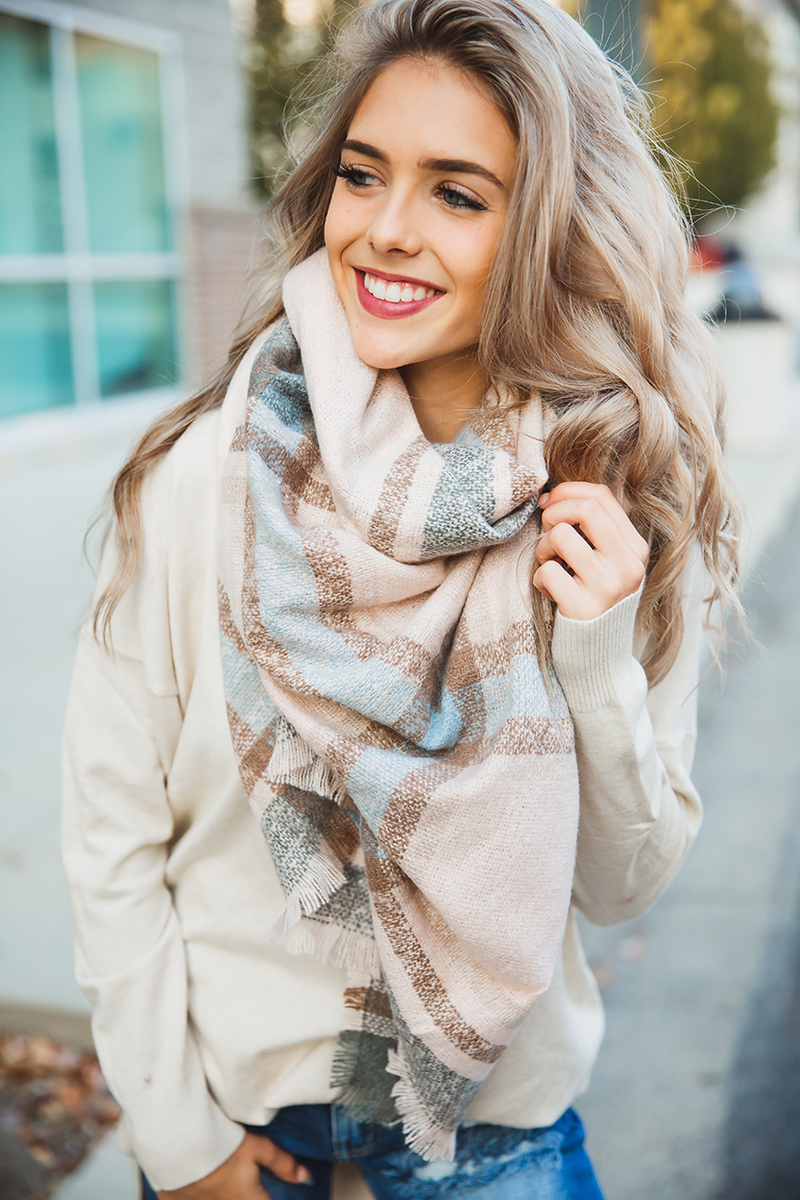 Never Meant to Make You Cry Blanket Scarf in Blush, Tan, Blue and Oatmeal