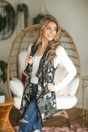 Just a Moment Fashion Vest in Gray Camo