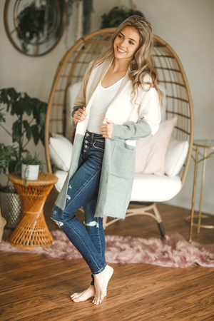 The End of Time Duster Cardigan in Dusty Blue