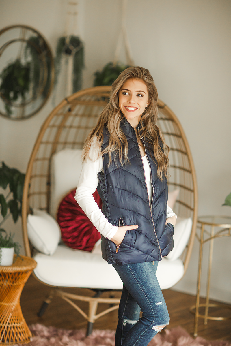 A Hard Fight Puffer Vest in Navy