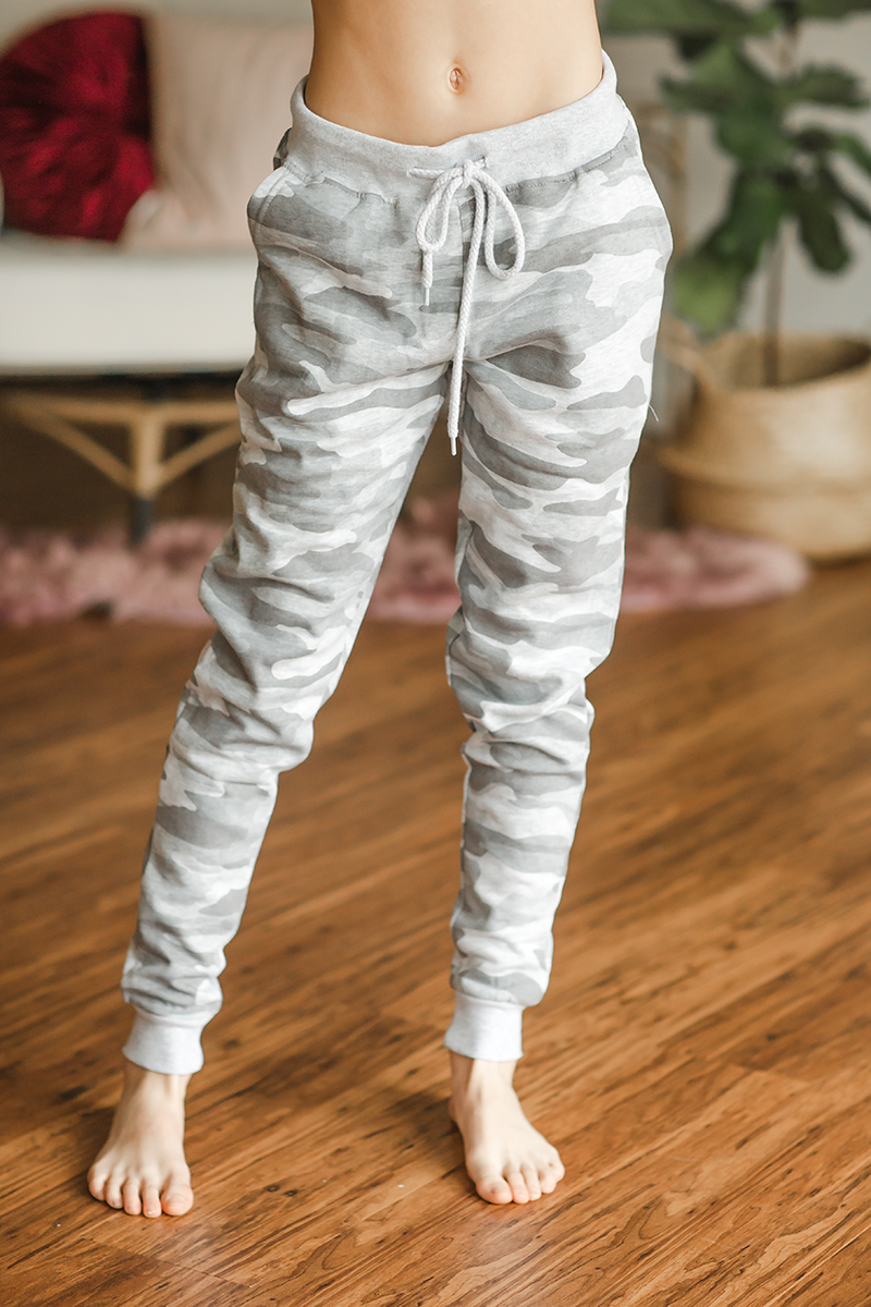 Cute and Comfy Joggers in Light Gray Camo