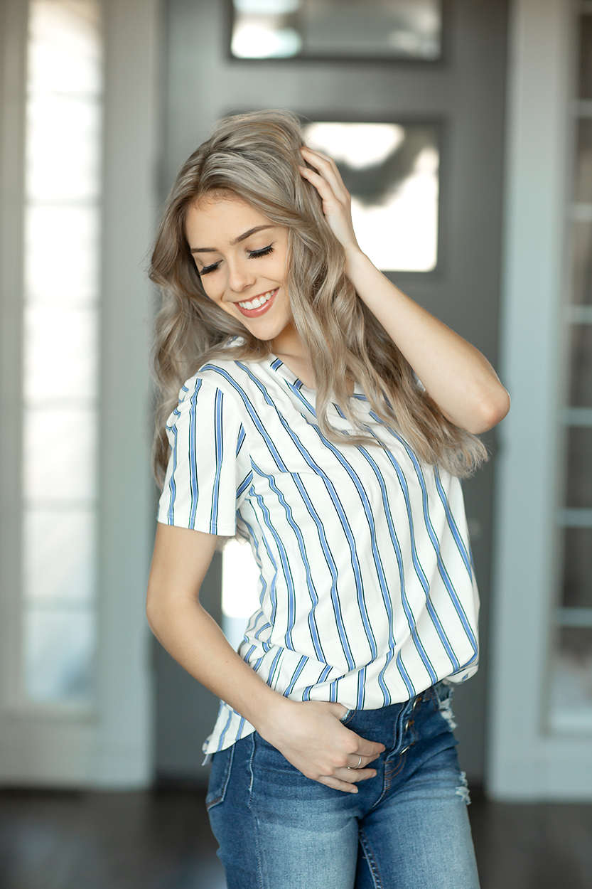 Made to Fly Top in Denim Stripes