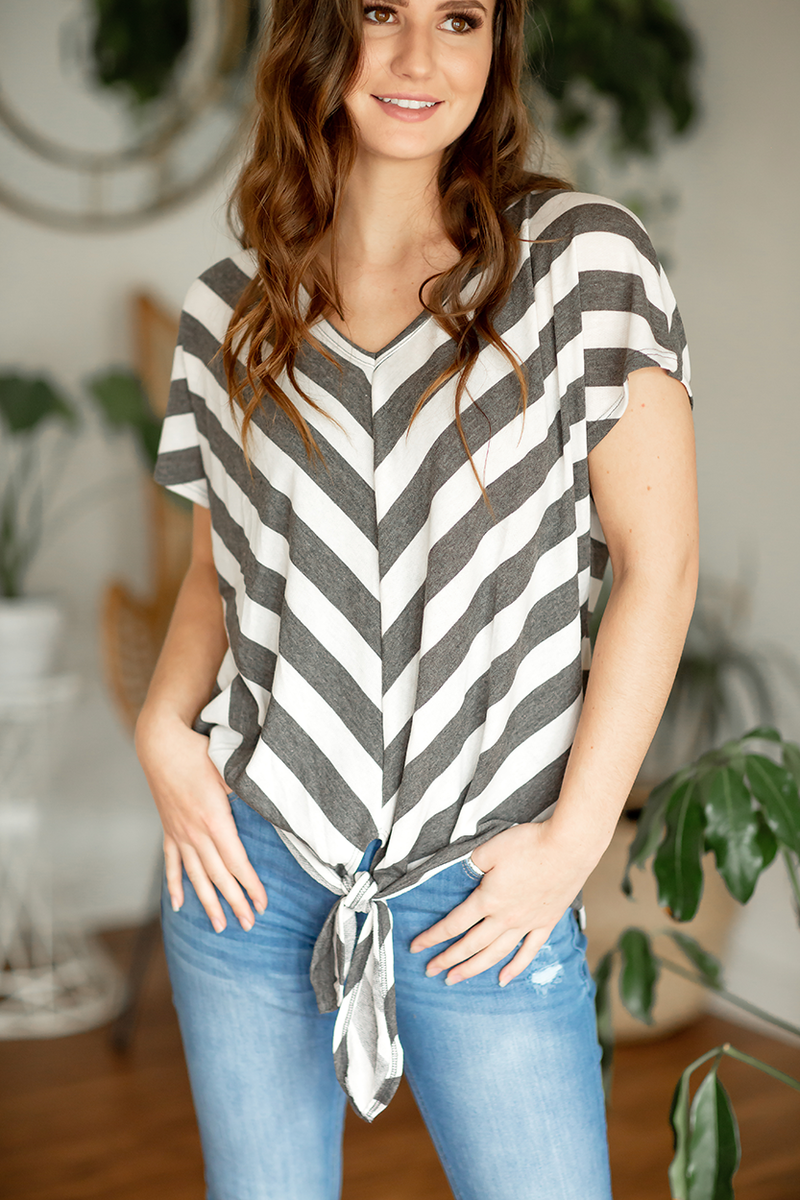 Until The End Striped Twist Top
