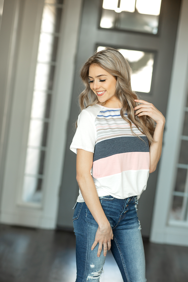 Back Around Short Sleeve Top in Ivory with Stripes