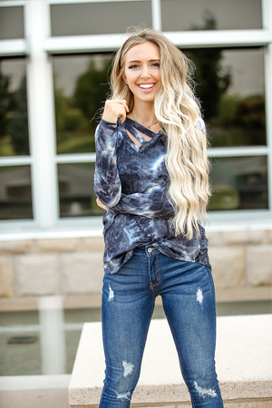 Paint It Black Tie Dye Long Sleeve Top