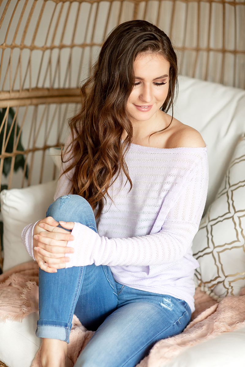 Work It Girl Off The Shoulder Top in Striped Lavender