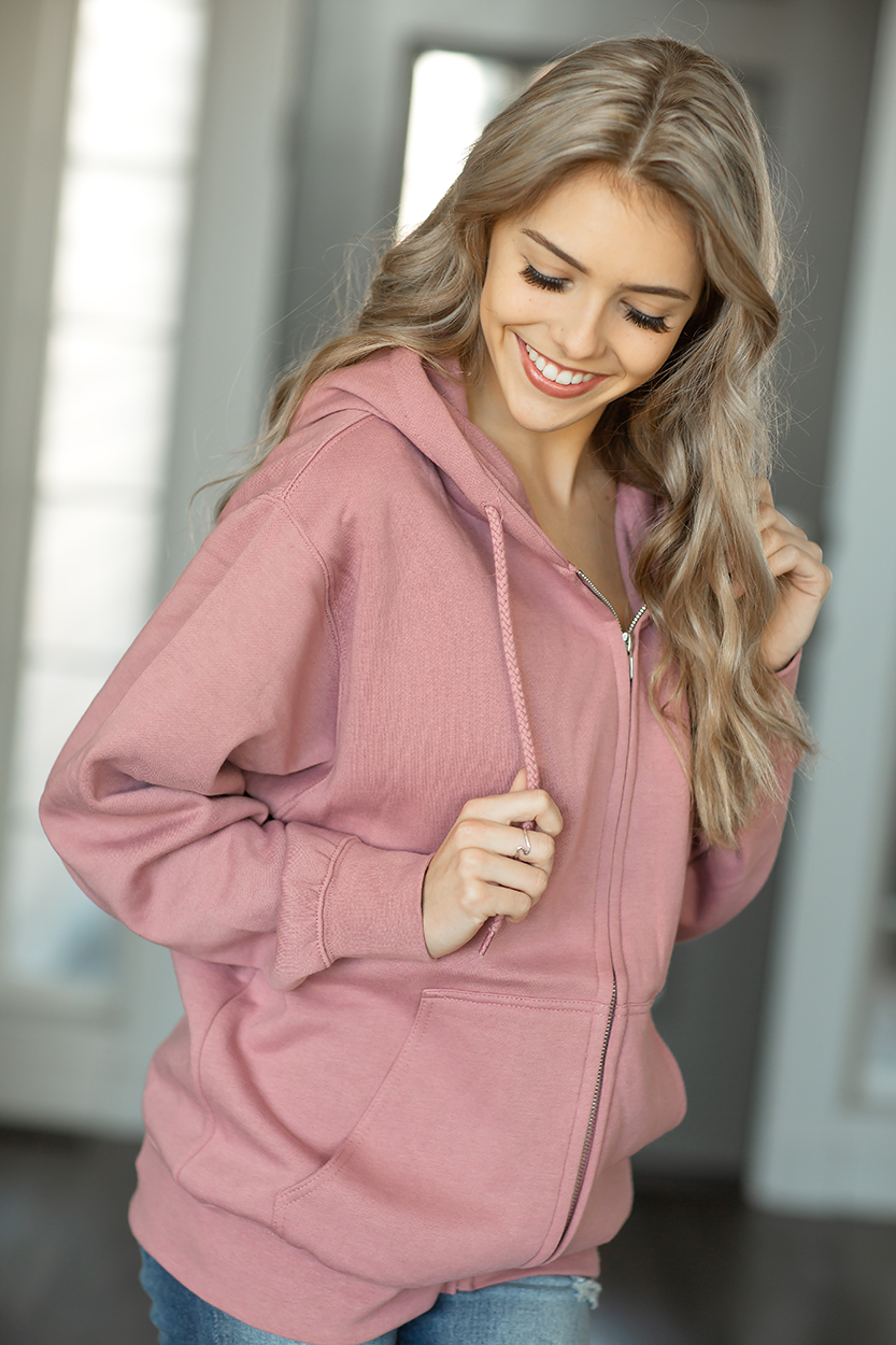 Falling Behind Zip Up Hoodie in Dusty Pink