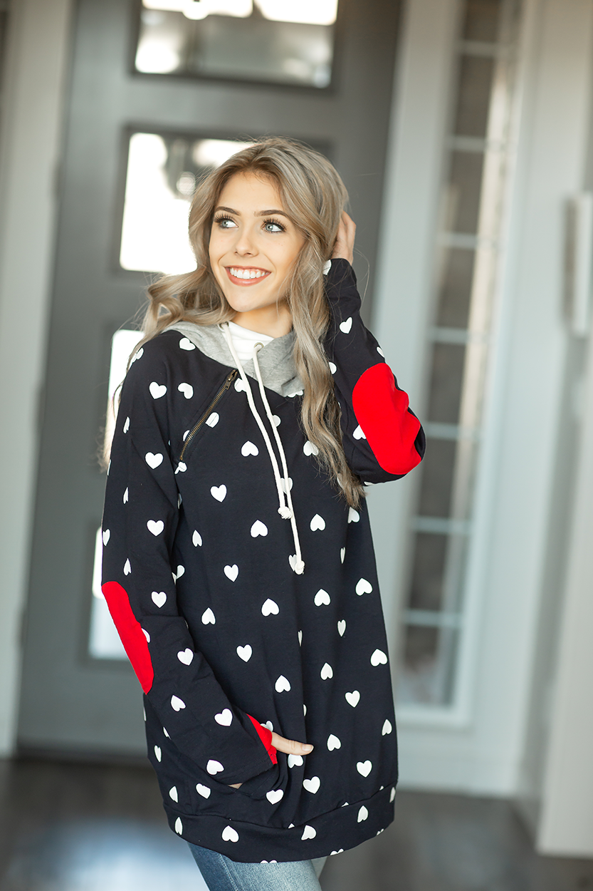 Whisper You Love Me Heart Double Hoodie in Navy