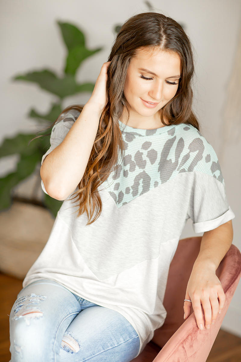 Forever Yours Top in Blue Animal Print