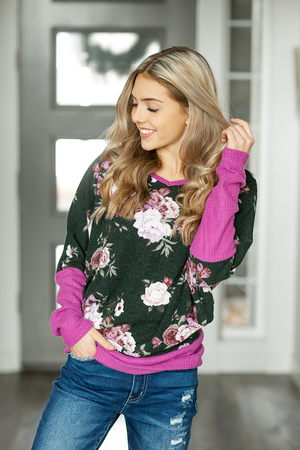 Don't Break My Heart Magenta Floral Top in Dark Olive
