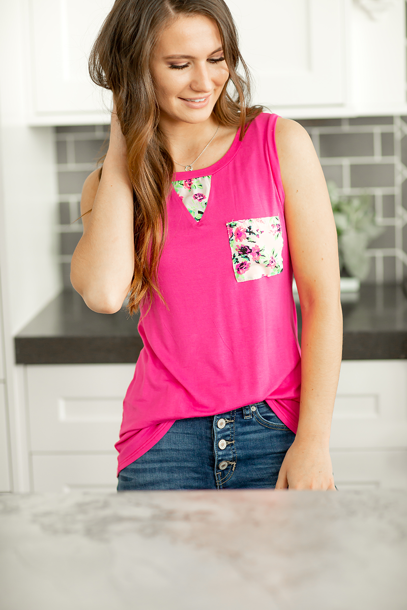 Had To Be You Peek-A-Boo back Tank in Pink