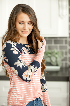 Clear Skies Floral and Striped Top in Navy and Blush