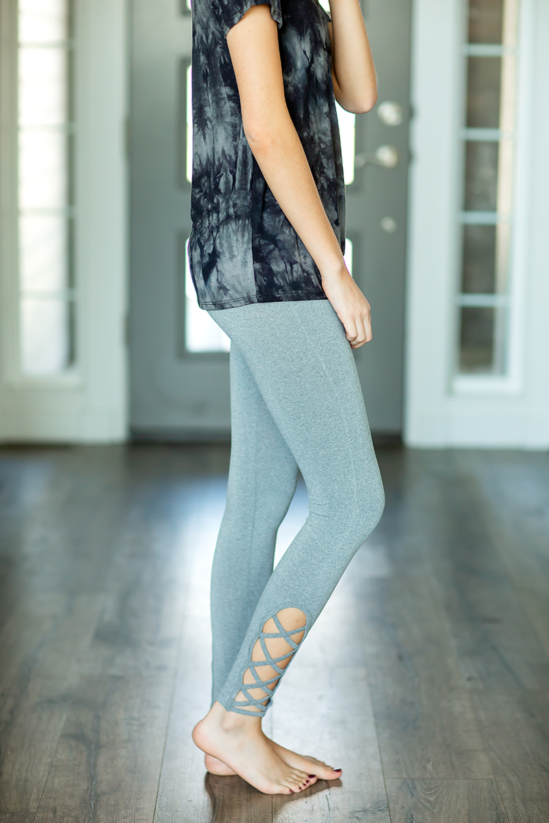 Gray Leggings With Criss Cross Detail