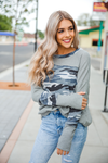 Let's Turn the Lights Off Camo Waffle Long Sleeve Top