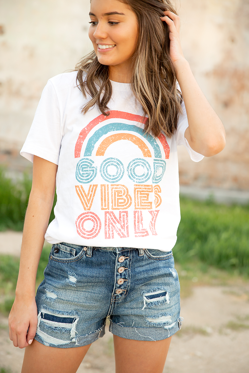 Good Vibes Graphic Tee in White