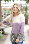 Wild Idea Color Block Top with Animal Print and Lavender