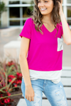 Love Affair Fuchsia and Stripe Top