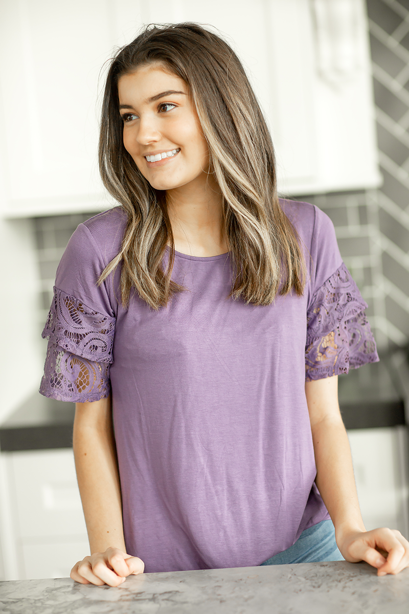 Lace and Sweetness Top in Purple