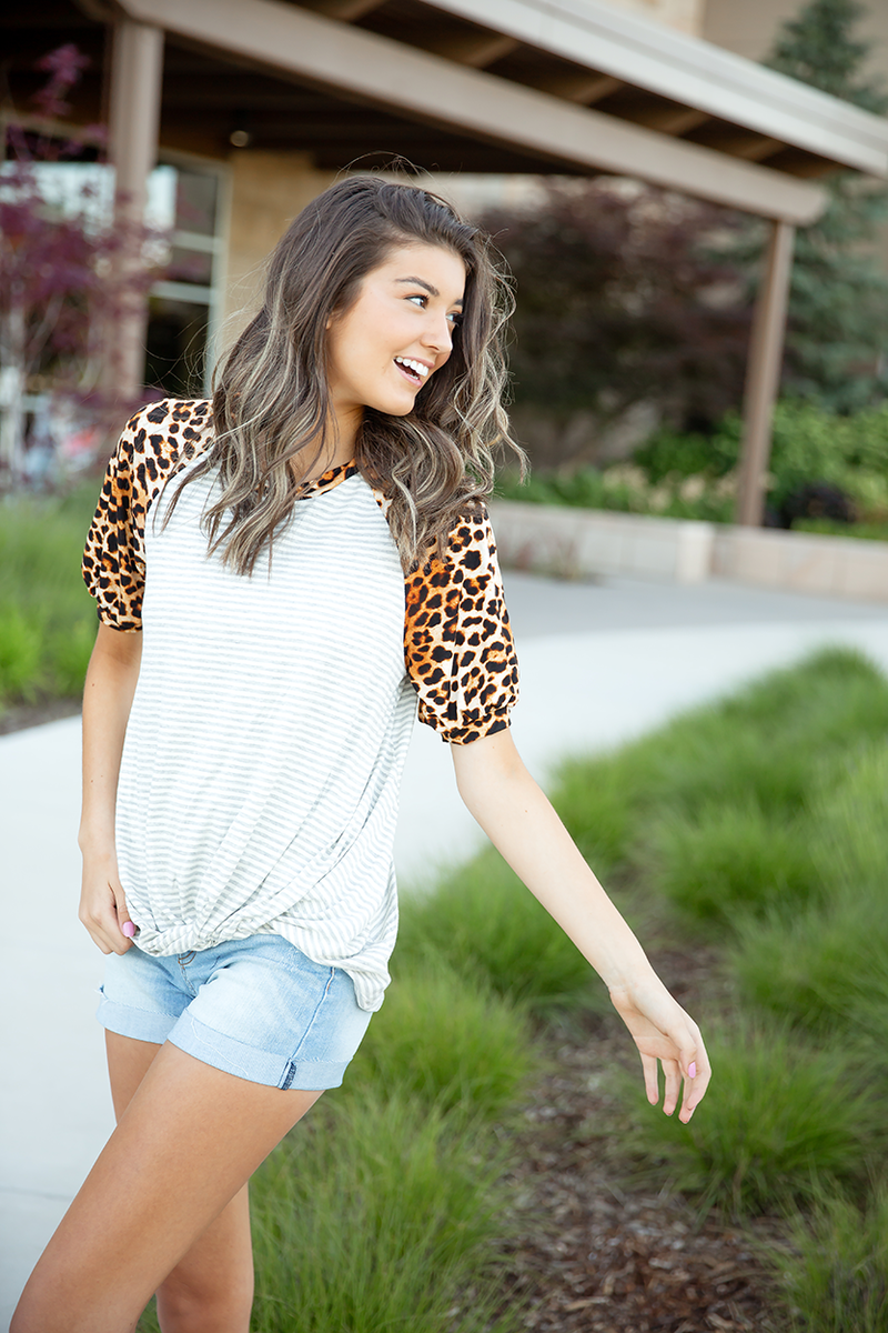 Goodbye Grey Stripe with Leopard Mid Sleeve Top